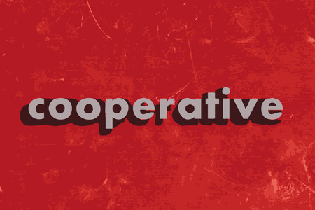 cooperative: cooperative vector word on red concrete wall