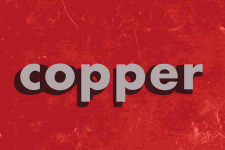 copper: copper vector word on red concrete wall