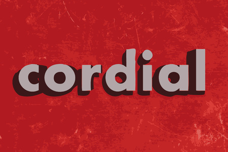 cordial: cordial vector word on red concrete wall Illustration