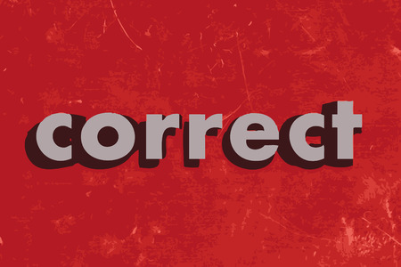 correct: correct vector word on red concrete wall Illustration