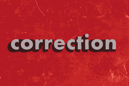corrections: correction vector word on red concrete wall Illustration