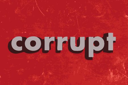 corrupt: corrupt vector word on red concrete wall Illustration