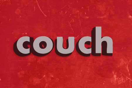 red couch: couch vector word on red concrete wall