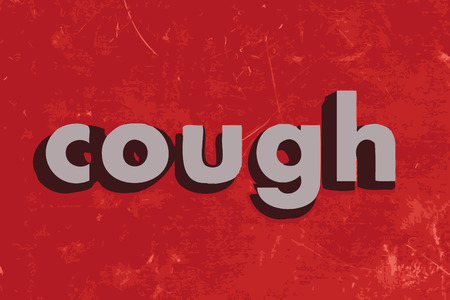 cough: cough vector word on red concrete wall