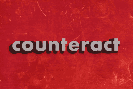counteract: counteract vector word on red concrete wall
