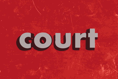 cement court: court vector word on red concrete wall