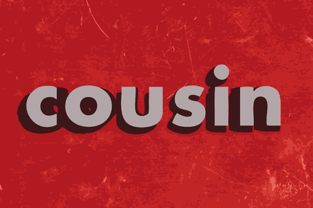 cousin: cousin vector word on red concrete wall
