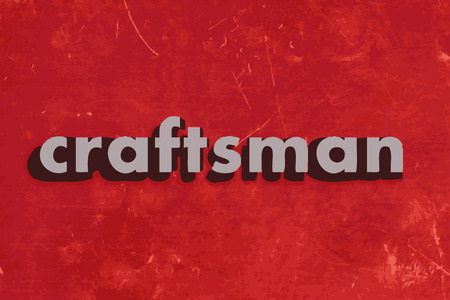 craftsman: craftsman vector word on red concrete wall