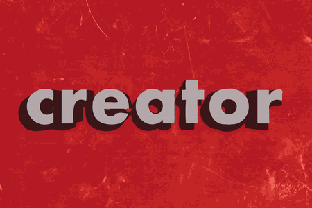 the creator: creator vector word on red concrete wall Illustration