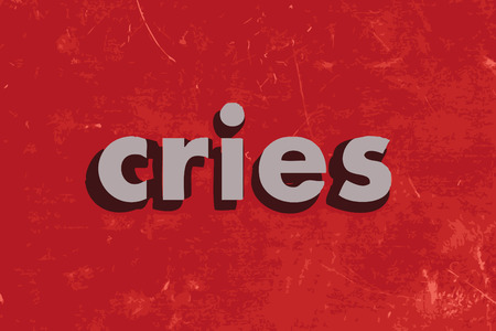 cries: cries vector word on red concrete wall