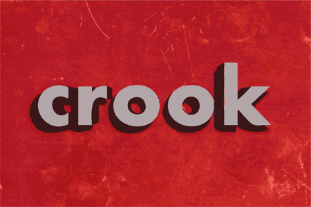 crook: crook vector word on red concrete wall