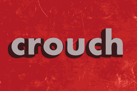 crouch: crouch vector word on red concrete wall