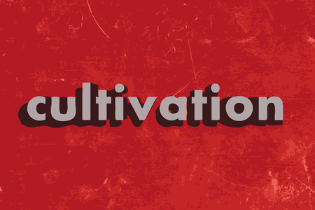cultivation: cultivation vector word on red concrete wall