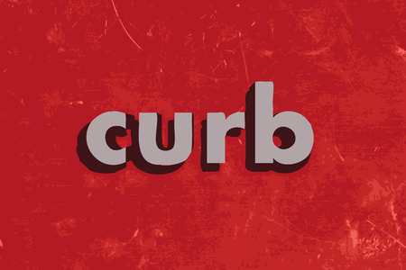 curb: curb vector word on red concrete wall