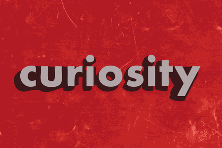 curiosity vector word on red concrete wall Illustration
