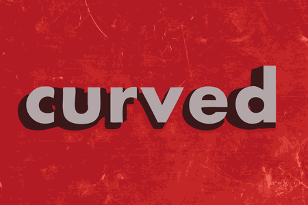 in curved: curved vector word on red concrete wall