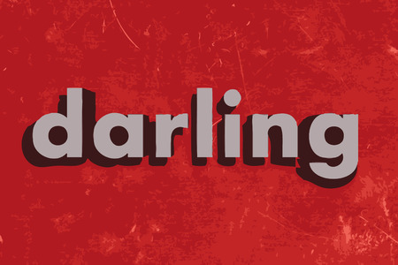 darling: darling vector word on red concrete wall