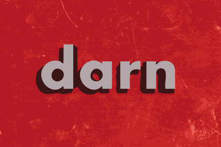 darn: darn vector word on red concrete wall