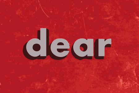 beloved: dear vector word on red concrete wall