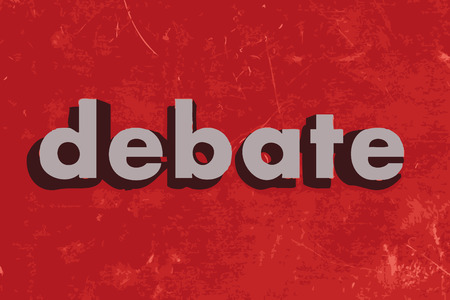 debate: debate vector word on red concrete wall Illustration