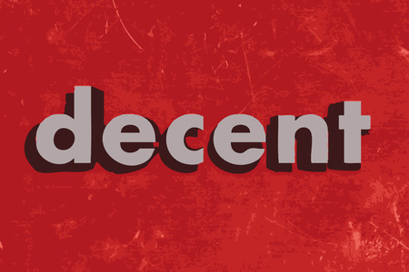 decent: decent vector word on red concrete wall Illustration
