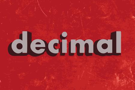 decimal: decimal vector word on red concrete wall Illustration
