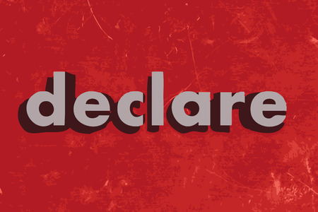 declare: declare vector word on red concrete wall