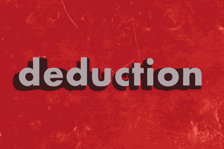 deduction: deduction vector word on red concrete wall