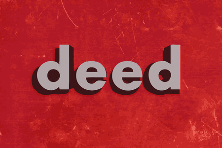 deed: deed vector word on red concrete wall