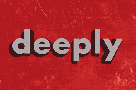 deeply: deeply vector word on red concrete wall