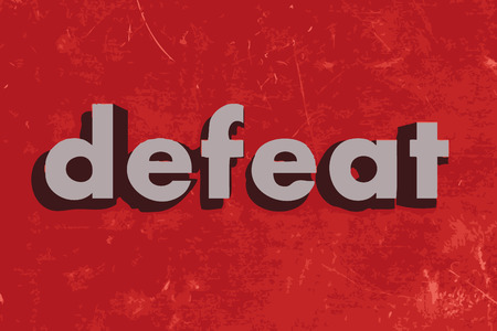 defeated: defeat vector word on red concrete wall