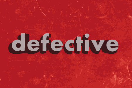 defective: defective vector word on red concrete wall