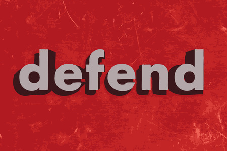defend: defend vector word on red concrete wall