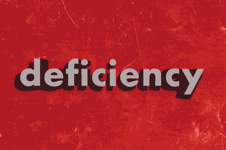 deficiency: deficiency vector word on red concrete wall Illustration