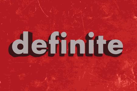 definite: definite vector word on red concrete wall Illustration