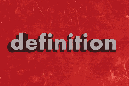definitions: definition vector word on red concrete wall