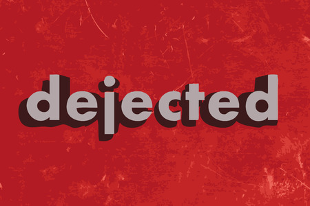 dejected: dejected vector word on red concrete wall Illustration