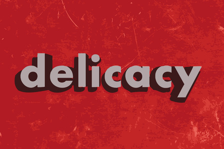 delicacy: delicacy vector word on red concrete wall Illustration