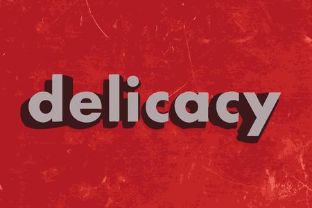 delicadeza: palabra delicadeza del vector en rojo muro de hormig�n