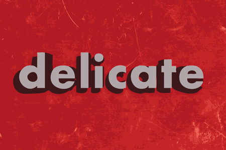delicate: delicate vector word on red concrete wall