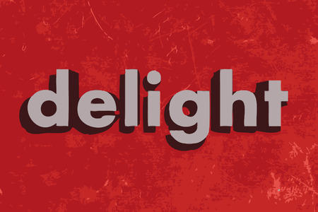 delight: delight vector word on red concrete wall