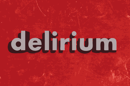 delirium: delirium vector word on red concrete wall