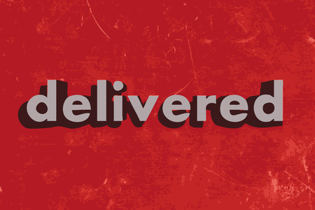 delivered: delivered vector word on red concrete wall Illustration