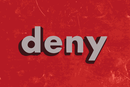 deny: deny vector word on red concrete wall