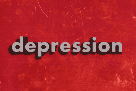 depression: depression vector word on red concrete wall
