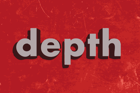 depth: depth vector word on red concrete wall Illustration