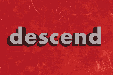 descend: descend vector word on red concrete wall