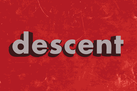 descent: descent vector word on red concrete wall Illustration