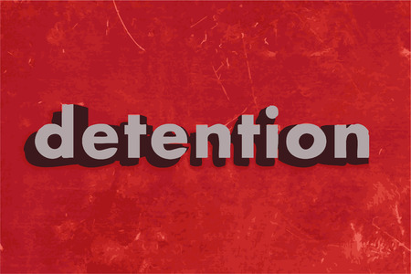 detention: detention vector word on red concrete wall