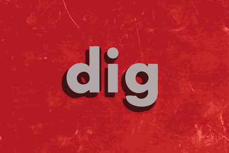 dig: dig vector word on red concrete wall